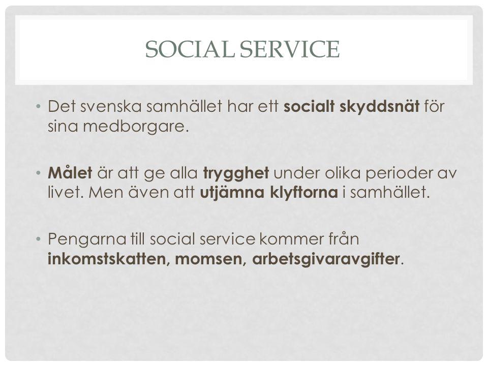 SOCIAL SERVICE Det svenska samhället har ett socialt skyddsnät för sina medborgare. Målet är att ge alla trygghet under olika perioder av livet. Men ä