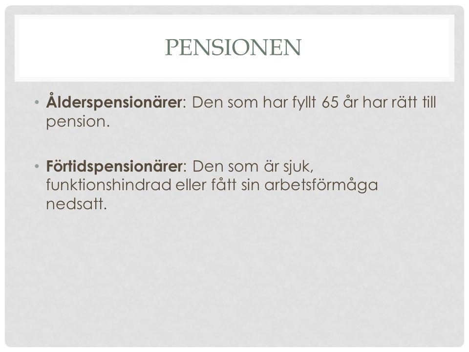 PENSIONEN Ålderspensionärer : Den som har fyllt 65 år har rätt till pension. Förtidspensionärer : Den som är sjuk, funktionshindrad eller fått sin arb