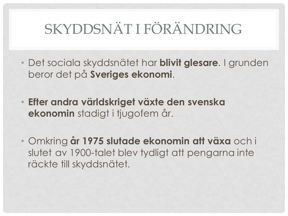 SKYDDSNÄT I FÖRÄNDRING Det sociala skyddsnätet har blivit glesare. I grunden beror det på Sveriges ekonomi. Efter andra världskriget växte den svenska