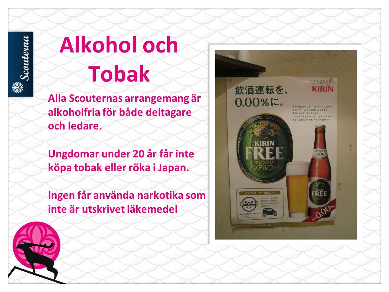 Alkohol och Tobak Alla Scouternas arrangemang är alkoholfria för både deltagare och ledare.