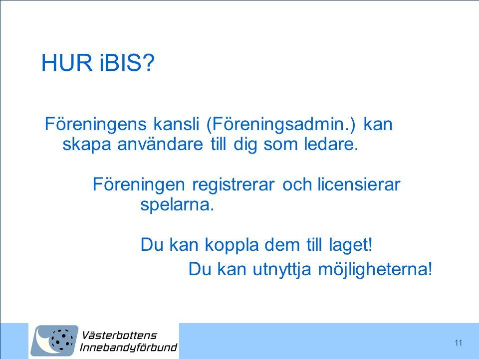 11 HUR iBIS? Föreningens kansli (Föreningsadmin.) kan skapa användare till dig som ledare. Föreningen registrerar och licensierar spelarna. Du kan kop