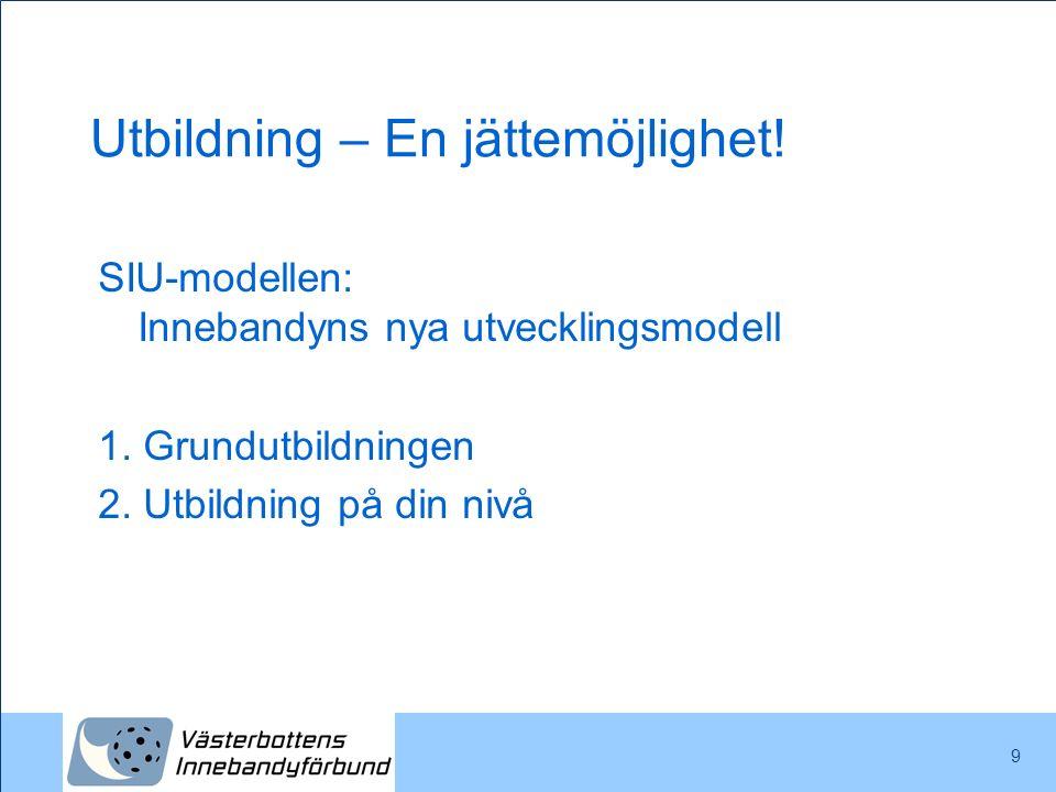 Utbildning – En jättemöjlighet! SIU-modellen: Innebandyns nya utvecklingsmodell 1. Grundutbildningen 2. Utbildning på din nivå 9