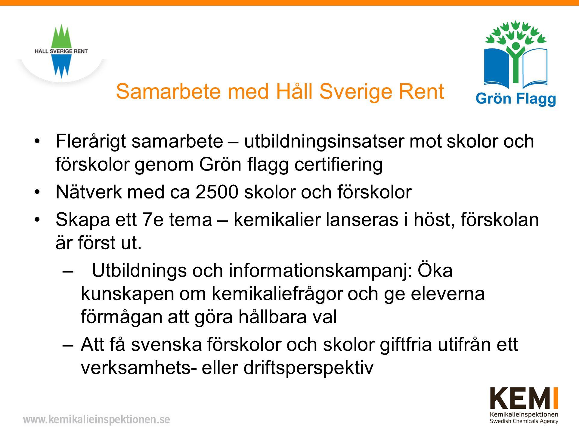 Samarbete med Håll Sverige Rent Flerårigt samarbete – utbildningsinsatser mot skolor och förskolor genom Grön flagg certifiering Nätverk med ca 2500 skolor och förskolor Skapa ett 7e tema – kemikalier lanseras i höst, förskolan är först ut.