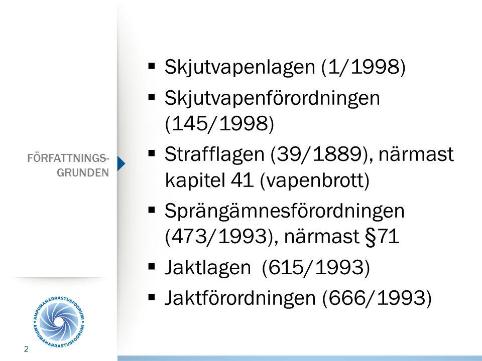 FÖRFATTNINGS- GRUNDEN  Skjutvapenlagen (1/1998)  Skjutvapenförordningen (145/1998)  Strafflagen (39/1889), närmast kapitel 41 (vapenbrott)  Spräng