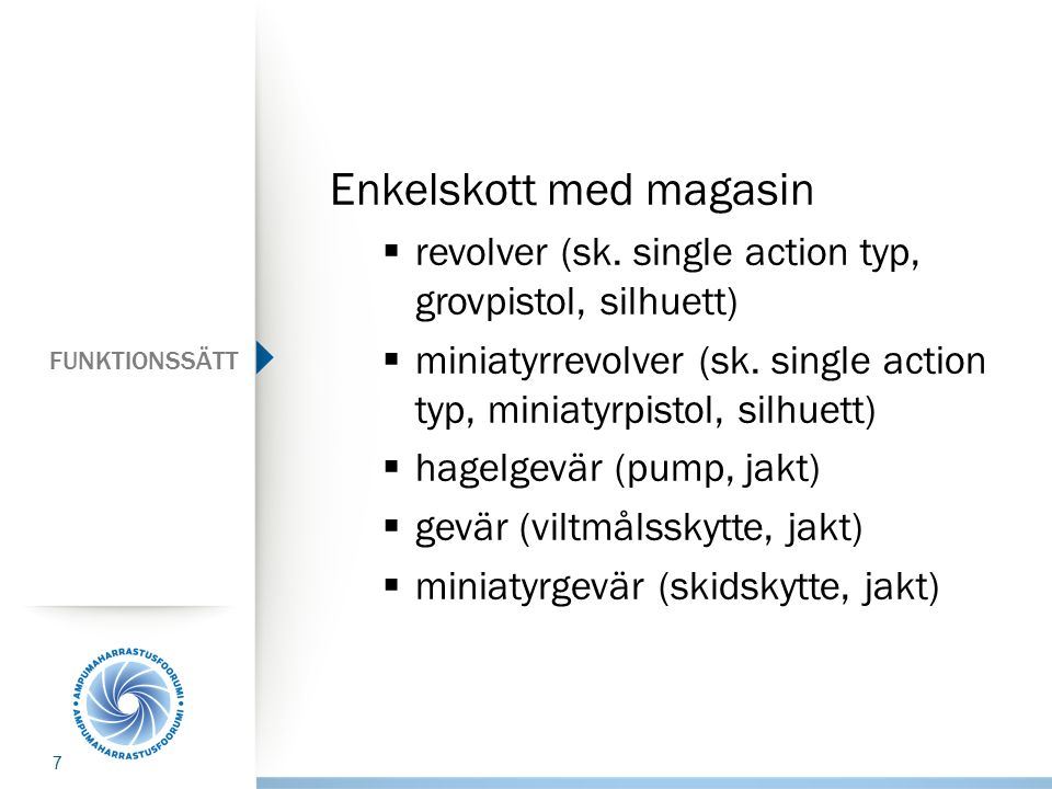 FUNKTIONSSÄTT Enkelskott med magasin  revolver (sk. single action typ, grovpistol, silhuett)  miniatyrrevolver (sk. single action typ, miniatyrpisto