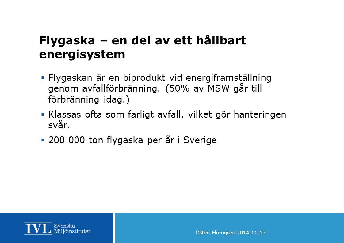 Flygaska – en del av ett hållbart energisystem  Flygaskan är en biprodukt vid energiframställning genom avfallförbränning. (50% av MSW går till förbr