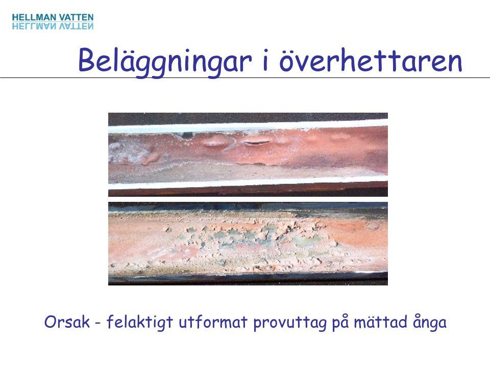 Beläggningar i överhettaren Orsak - felaktigt utformat provuttag på mättad ånga