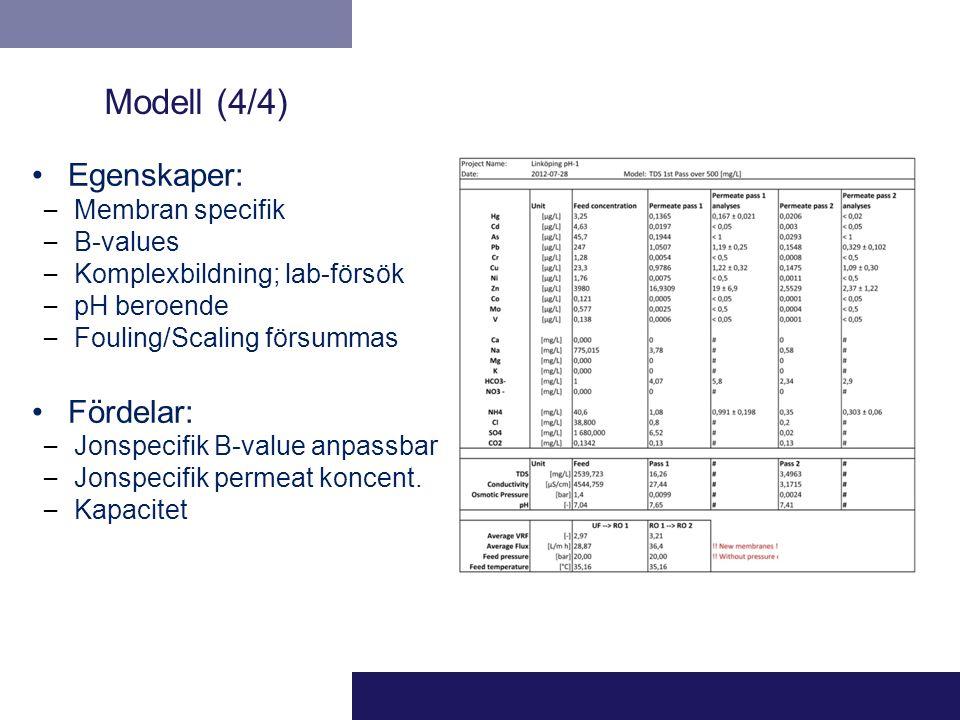 Egenskaper: – Membran specifik – B-values – Komplexbildning; lab-försök – pH beroende – Fouling/Scaling försummas Fördelar: – Jonspecifik B-value anpa