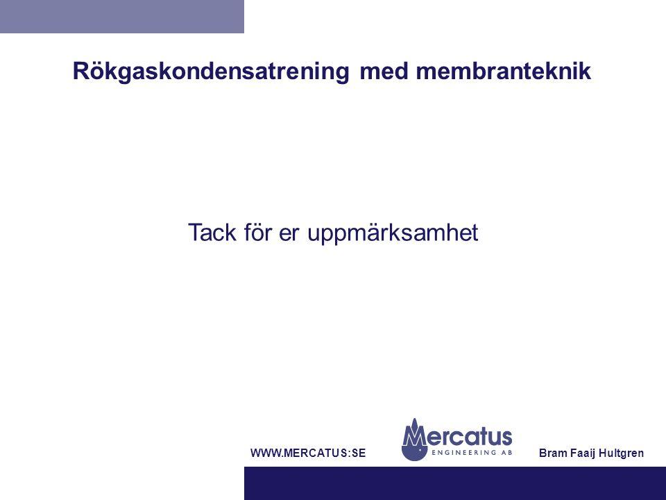 Tack för er uppmärksamhet Bram Faaij HultgrenWWW.MERCATUS:SE Rökgaskondensatrening med membranteknik