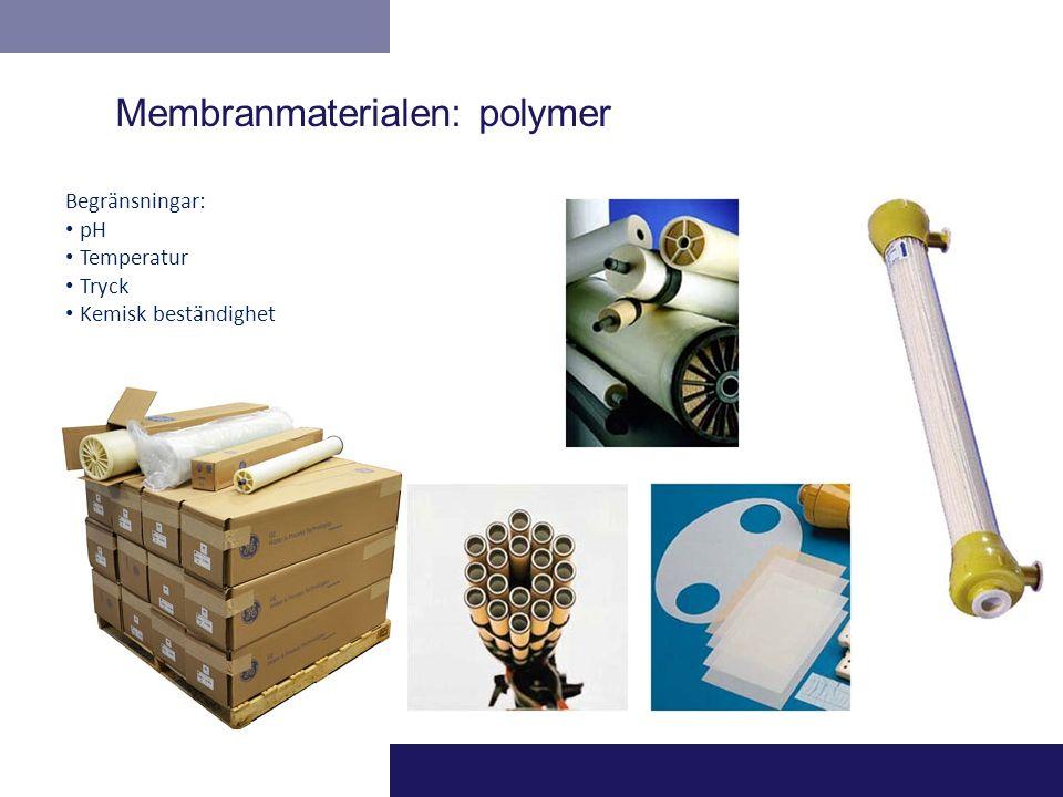 Begränsningar: pH Temperatur Tryck Kemisk beständighet Membranmaterialen: polymer