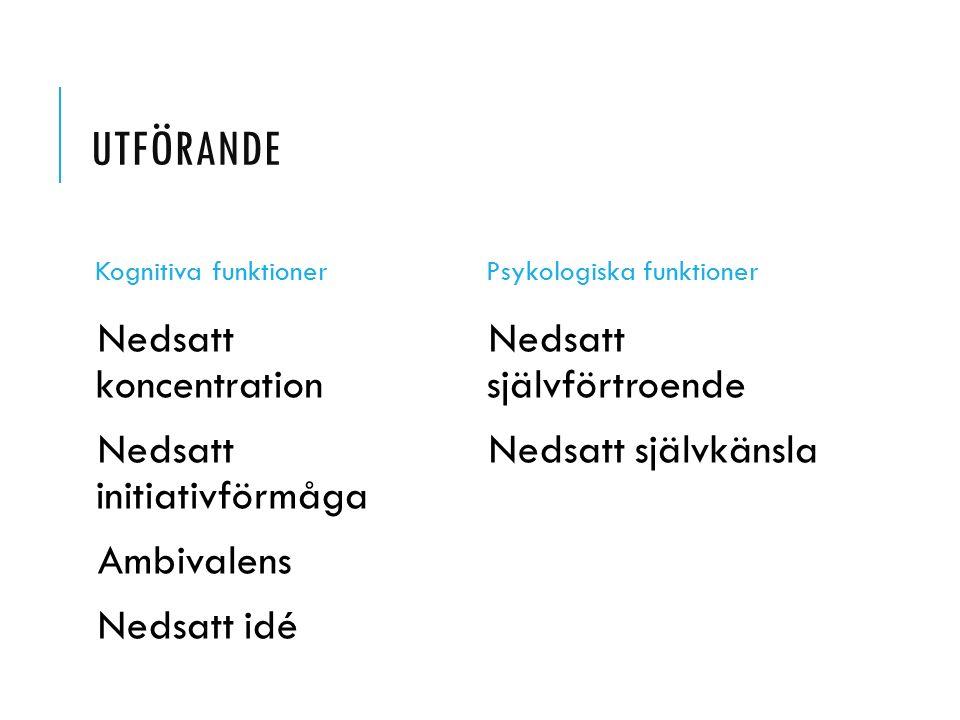 UTFÖRANDE Kognitiva funktioner Nedsatt koncentration Nedsatt initiativförmåga Ambivalens Nedsatt idé Psykologiska funktioner Nedsatt självförtroende N