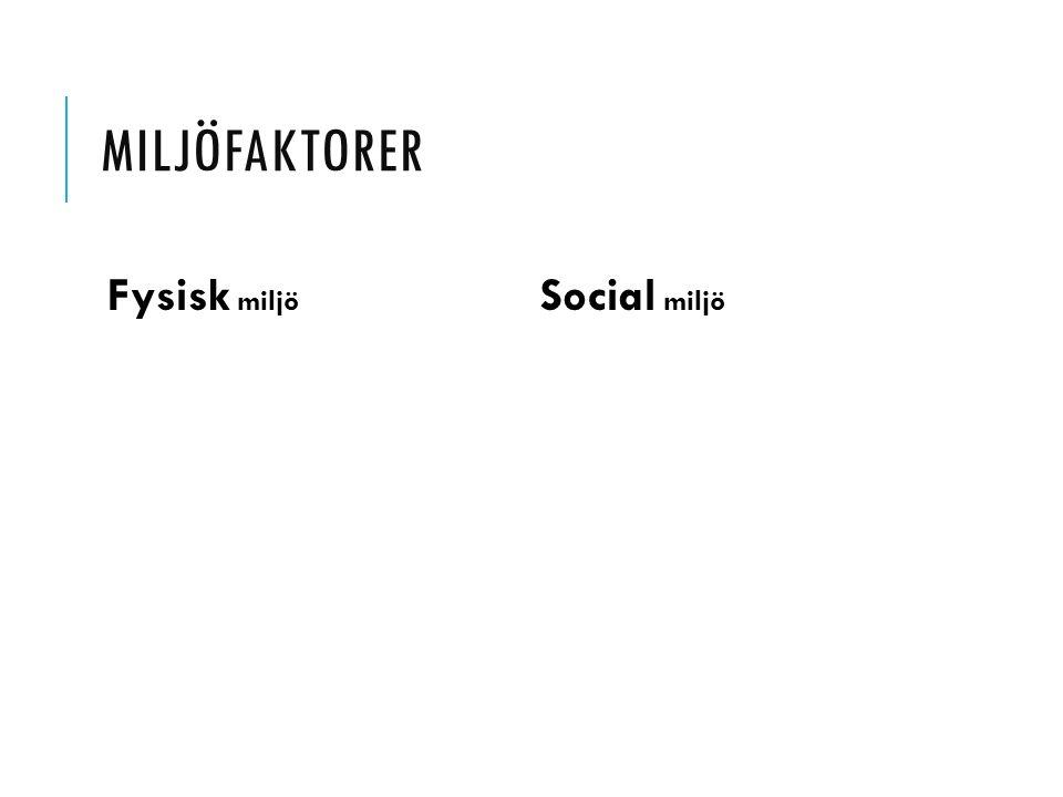 MILJÖFAKTORER Fysisk miljö Social miljö
