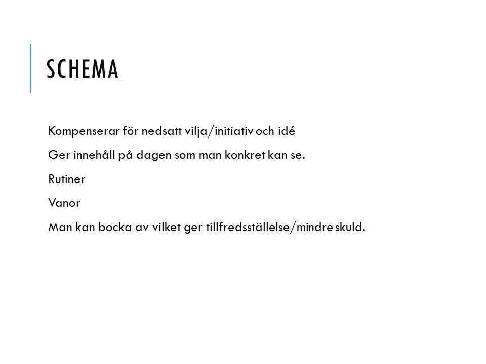 SCHEMA Kompenserar för nedsatt vilja/initiativ och idé Ger innehåll på dagen som man konkret kan se. Rutiner Vanor Man kan bocka av vilket ger tillfre