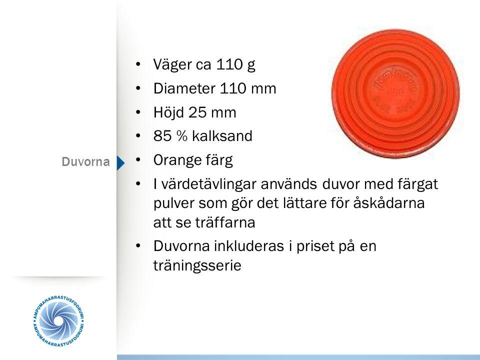 Duvorna Väger ca 110 g Diameter 110 mm Höjd 25 mm 85 % kalksand Orange färg I värdetävlingar används duvor med färgat pulver som gör det lättare för å