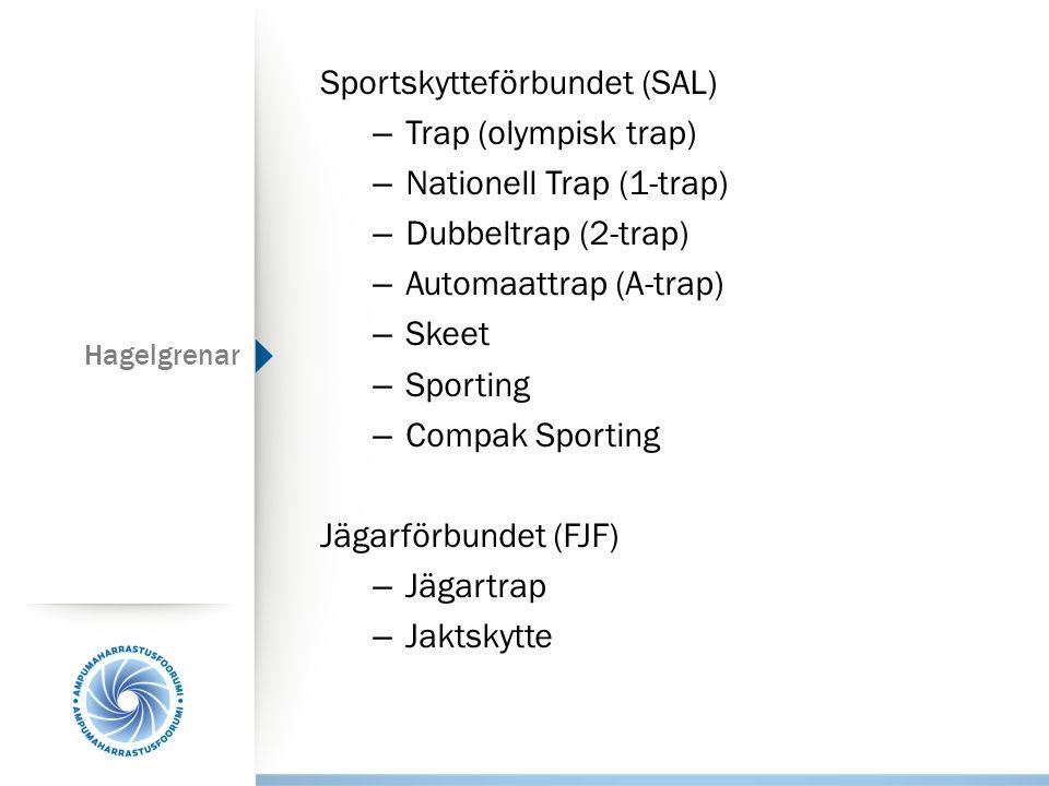 Hagelgrenar Sportskytteförbundet (SAL) – Trap (olympisk trap) – Nationell Trap (1-trap) – Dubbeltrap (2-trap) – Automaattrap (A-trap) – Skeet – Sporti