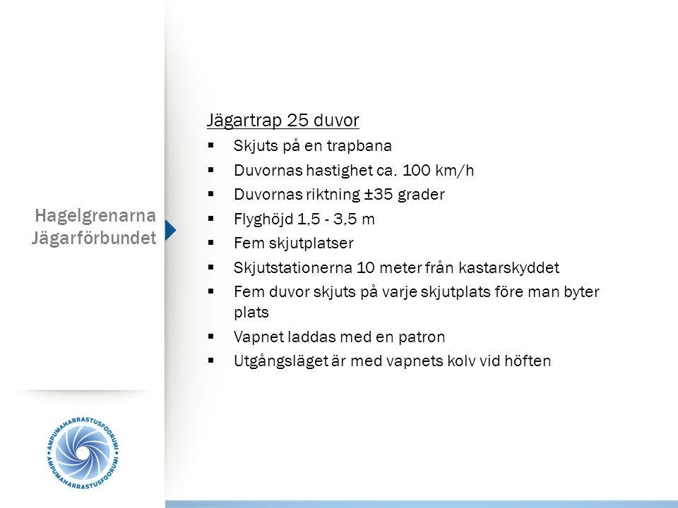 Hagelgrenarna Jägarförbundet Jägartrap 25 duvor  Skjuts på en trapbana  Duvornas hastighet ca. 100 km/h  Duvornas riktning ±35 grader  Flyghöjd 1,