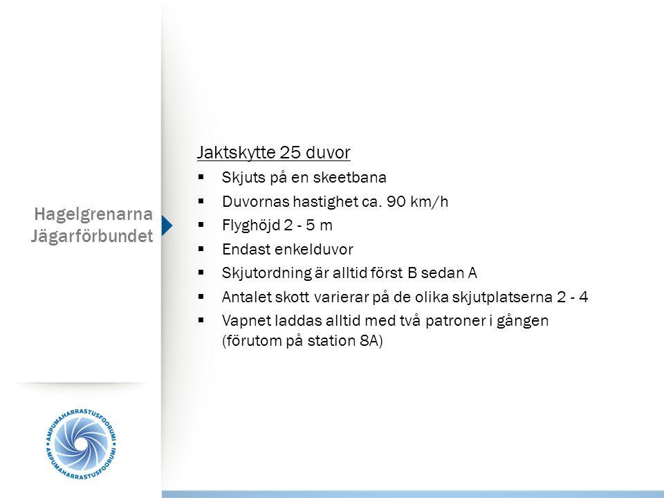 Hagelgrenarna Jägarförbundet Jaktskytte 25 duvor  Skjuts på en skeetbana  Duvornas hastighet ca. 90 km/h  Flyghöjd 2 - 5 m  Endast enkelduvor  Sk