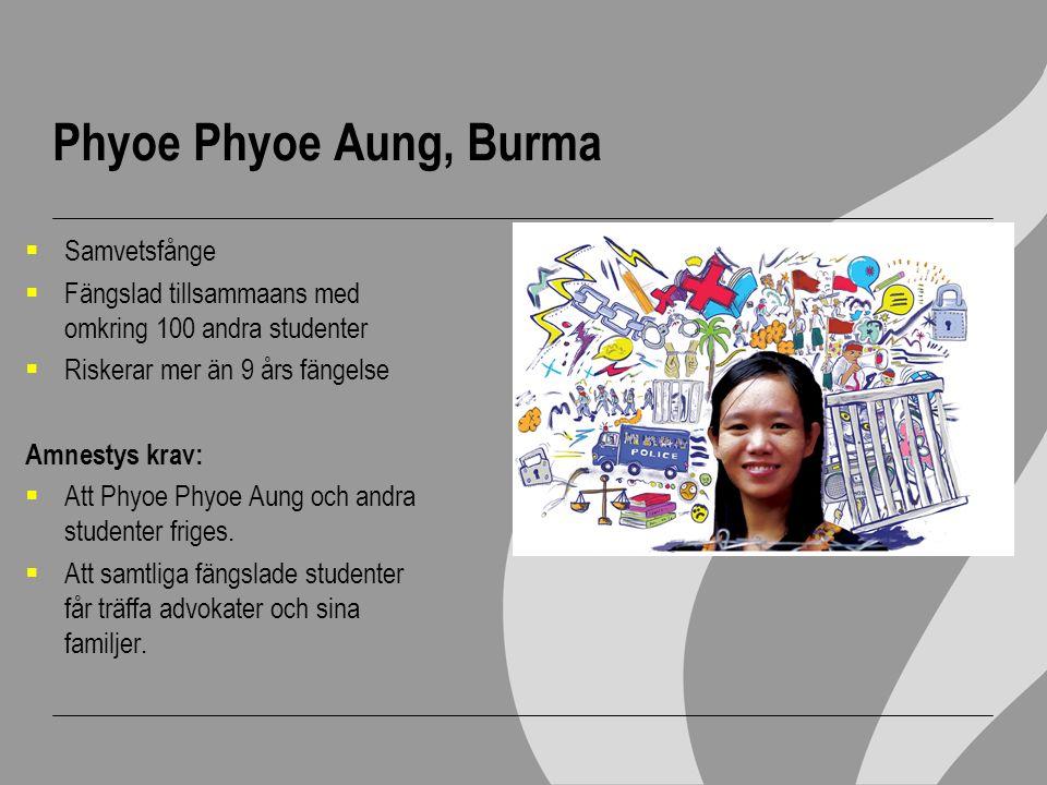 Phyoe Phyoe Aung, Burma  Samvetsfånge  Fängslad tillsammaans med omkring 100 andra studenter  Riskerar mer än 9 års fängelse Amnestys krav:  Att P