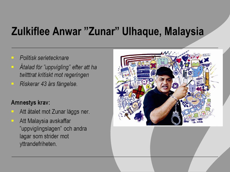 """Zulkiflee Anwar """"Zunar"""" Ulhaque, Malaysia  Politisk serietecknare  Åtalad för """"uppvigling"""" efter att ha twitttrat kritiskt mot regeringen  Riskerar"""