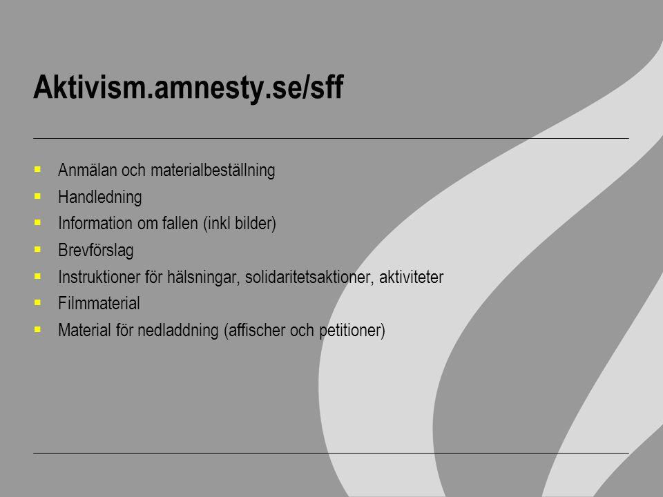 Aktivism.amnesty.se/sff  Anmälan och materialbeställning  Handledning  Information om fallen (inkl bilder)  Brevförslag  Instruktioner för hälsni