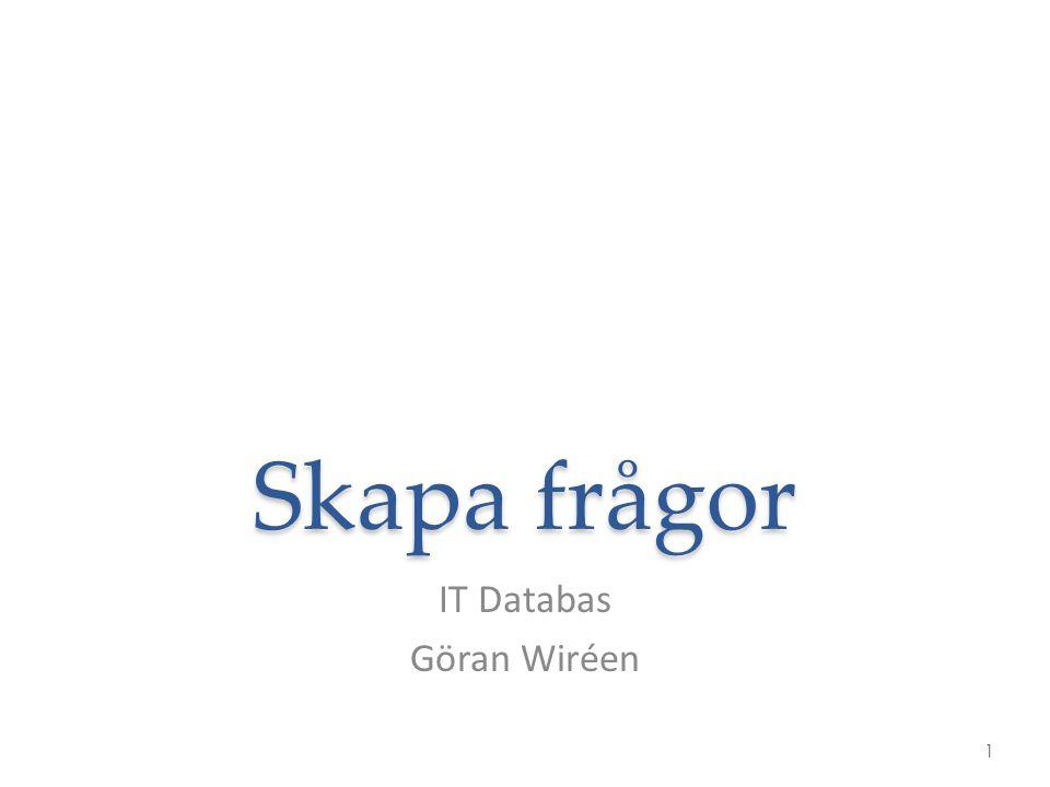 Skapa frågor IT Databas Göran Wiréen 1