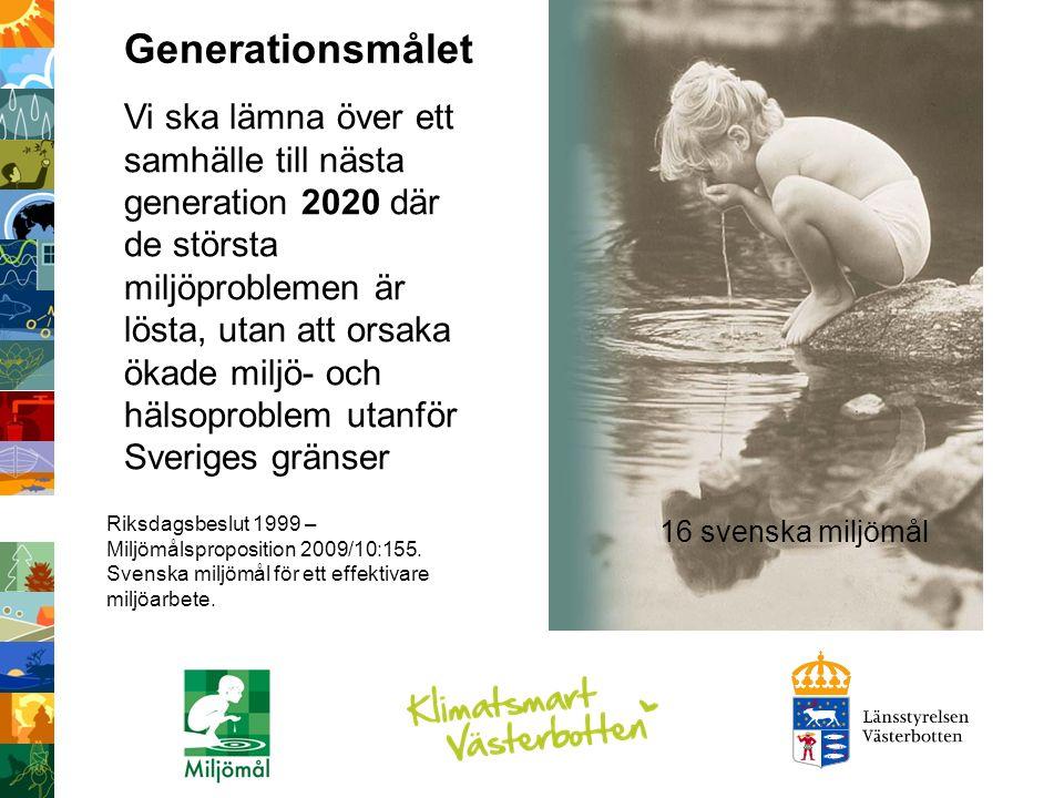 Vi ska lämna över ett samhälle till nästa generation där de största miljöproblemen är lösta, utan att orsaka ökade miljö- och hälsoproblem utanför Sveriges gränser« Vi ska lämna över ett samhälle till nästa generation 2020 där de största miljöproblemen är lösta, utan att orsaka ökade miljö- och hälsoproblem utanför Sveriges gränser Riksdagsbeslut 1999 – Miljömålsproposition 2009/10:155.