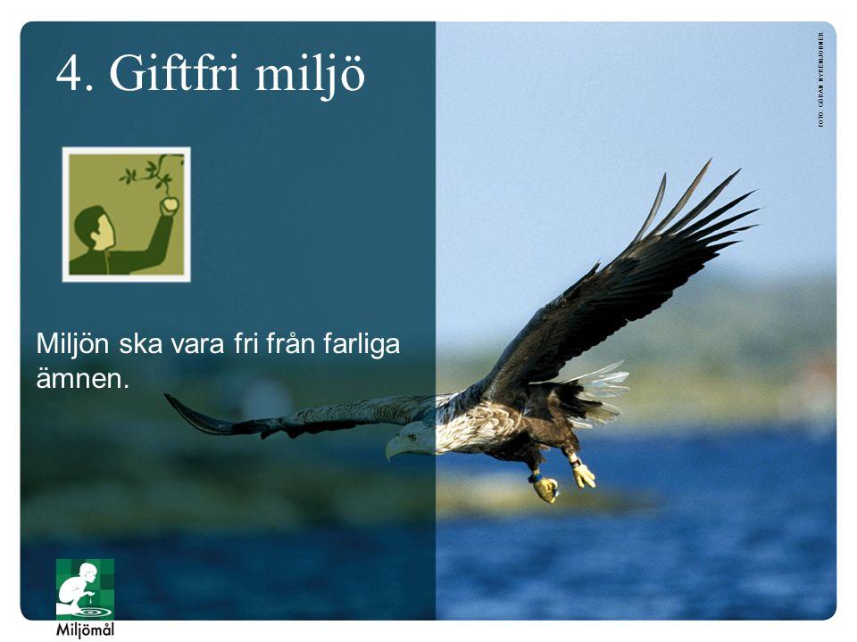 4. Giftfri miljö FOTO: GÖRAN NYRÉN/JOHNER Miljön ska vara fri från farliga ämnen.