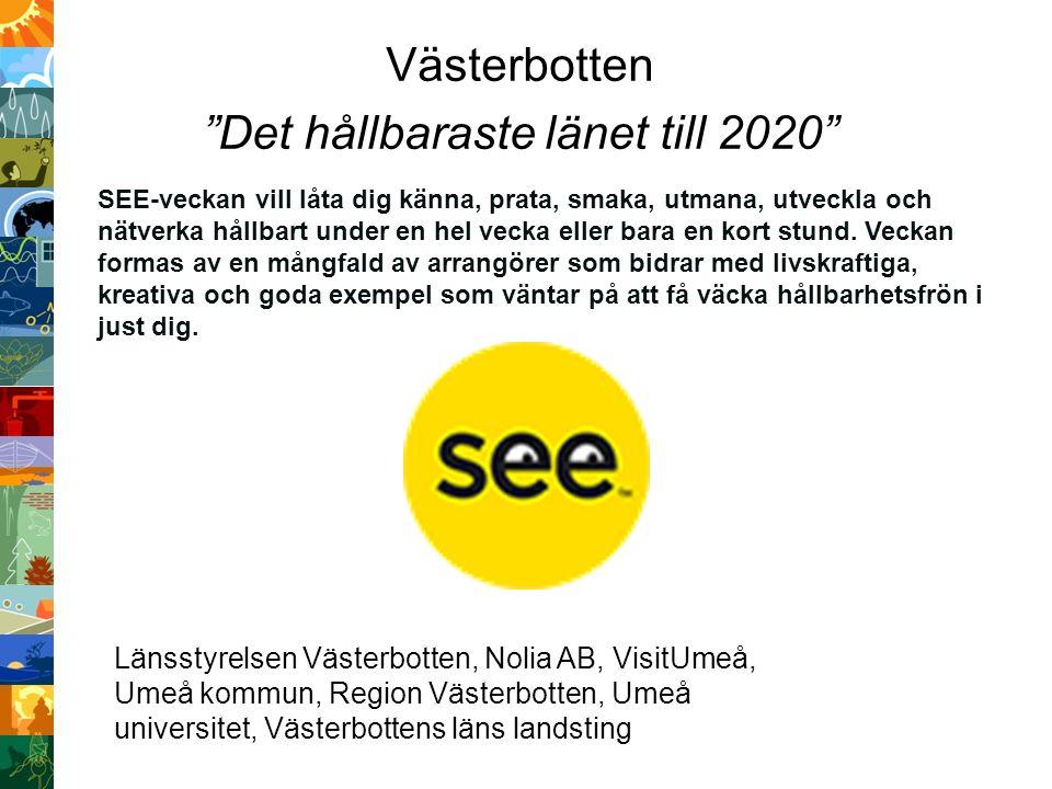 Västerbotten Det hållbaraste länet till 2020 SEE-veckan vill låta dig känna, prata, smaka, utmana, utveckla och nätverka hållbart under en hel vecka eller bara en kort stund.