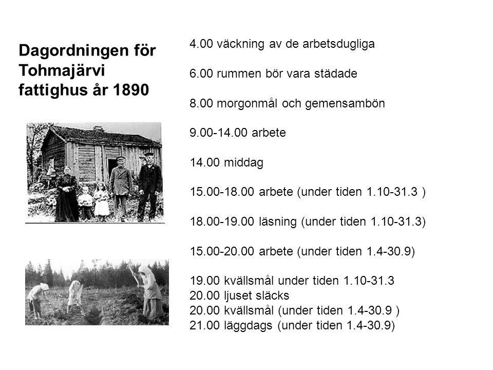 4.00 väckning av de arbetsdugliga 6.00 rummen bör vara städade 8.00 morgonmål och gemensambön 9.00-14.00 arbete 14.00 middag 15.00-18.00 arbete (under tiden 1.10-31.3 ) 18.00-19.00 läsning (under tiden 1.10-31.3) 15.00-20.00 arbete (under tiden 1.4-30.9) 19.00 kvällsmål under tiden 1.10-31.3 20.00 ljuset släcks 20.00 kvällsmål (under tiden 1.4-30.9 ) 21.00 läggdags (under tiden 1.4-30.9) Dagordningen för Tohmajärvi fattighus år 1890