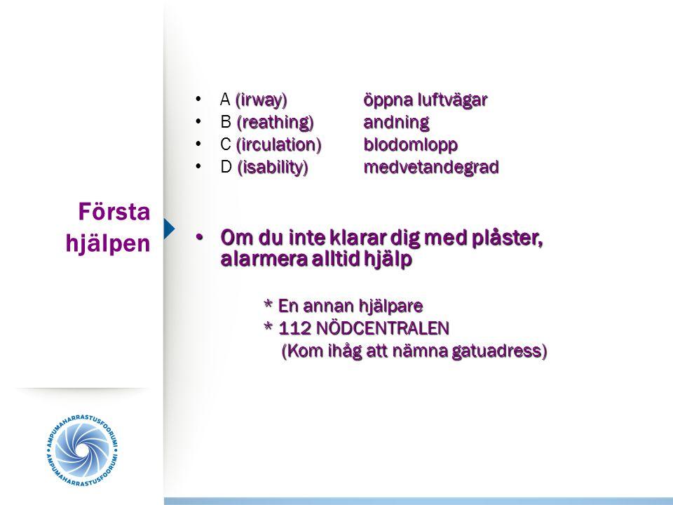 Första hjälpen (irway)öppna luftvägar A (irway)öppna luftvägar (reathing)andning B (reathing)andning (irculation)blodomlopp C (irculation)blodomlopp (