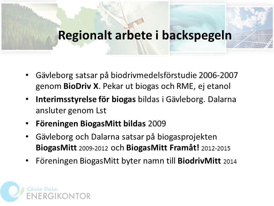 Regionalt arbete i backspegeln Gävleborg satsar på biodrivmedelsförstudie 2006-2007 genom BioDriv X.
