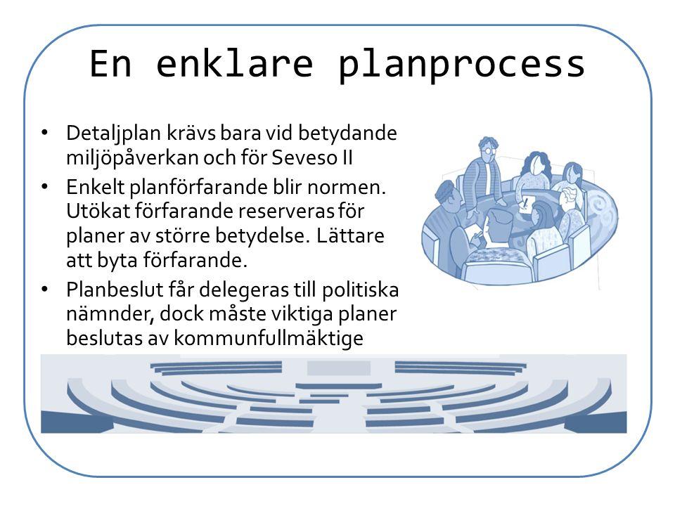 En enklare planprocess Detaljplan krävs bara vid betydande miljöpåverkan och för Seveso II Enkelt planförfarande blir normen. Utökat förfarande reserv