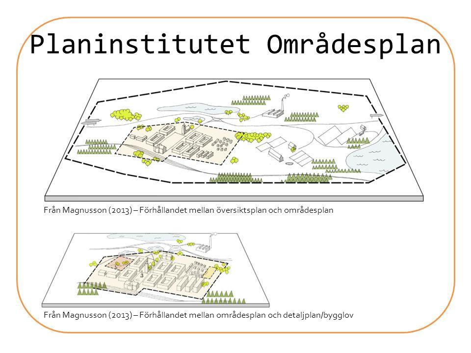 Planinstitutet Områdesplan Från Magnusson (2013) – Förhållandet mellan översiktsplan och områdesplan Från Magnusson (2013) – Förhållandet mellan områd
