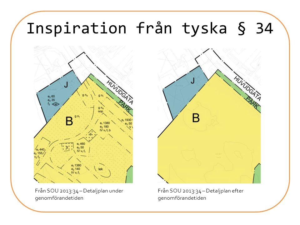 Inspiration från tyska § 34 Från SOU 2013:34 – Detaljplan under genomförandetiden Från SOU 2013:34 – Detaljplan efter genomförandetiden