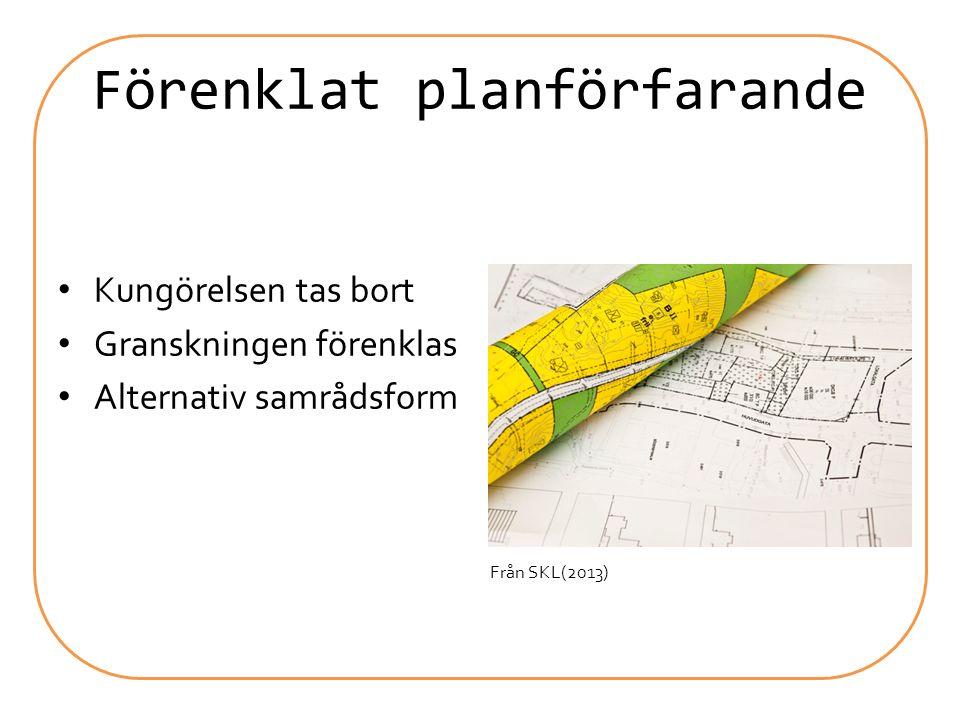 Administrativa lättnader Planbeslut kan delegeras till byggnadsnämnd Enklare att förlänga genomförandetiden Enklare att upphäva gamla detaljplaner Större möjlighet att medge avvikelse efter genomförandetidens slut Förenklad grannhörandeform Från Magnusson (2013)