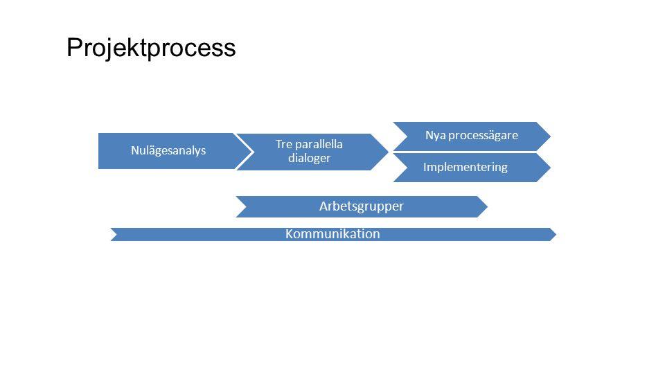 Projektprocess Arbetsgrupper Kommunikation Nulägesanalys Tre parallella dialoger Implementering Nya processägare