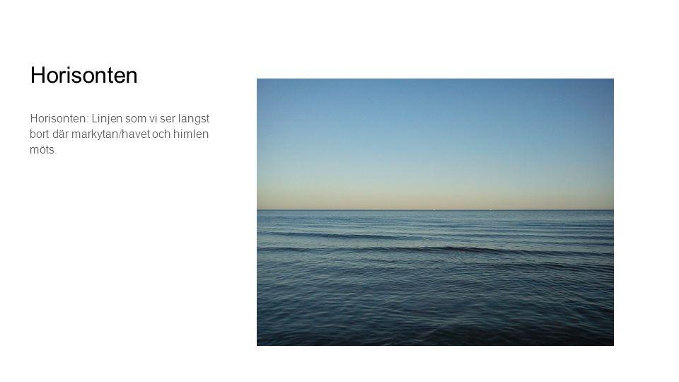 Horisonten Horisonten: Linjen som vi ser längst bort där markytan/havet och himlen möts.