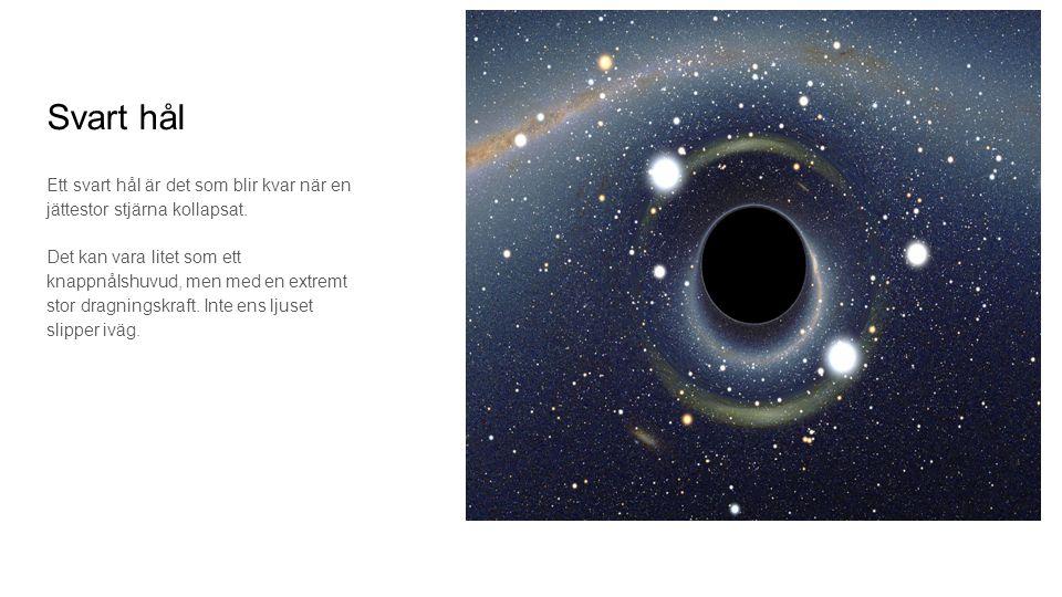 Svart hål Ett svart hål är det som blir kvar när en jättestor stjärna kollapsat. Det kan vara litet som ett knappnålshuvud, men med en extremt stor dr