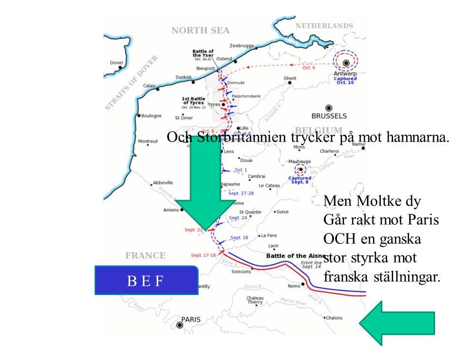Men Moltke dy Går rakt mot Paris OCH en ganska stor styrka mot franska ställningar. B E F Och Storbritannien trycker på mot hamnarna.
