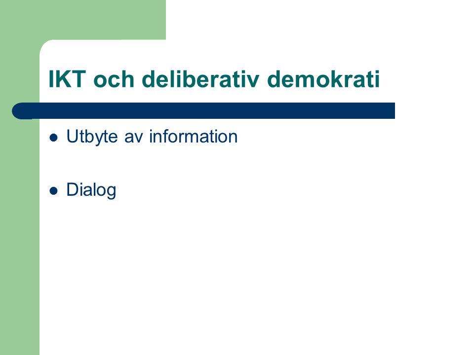 IKT och deliberativ demokrati Utbyte av information Dialog