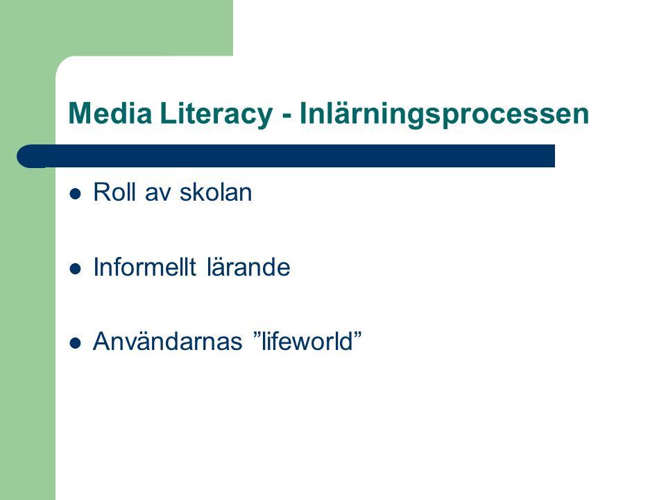 Media Literacy - Inlärningsprocessen Roll av skolan Informellt lärande Användarnas lifeworld
