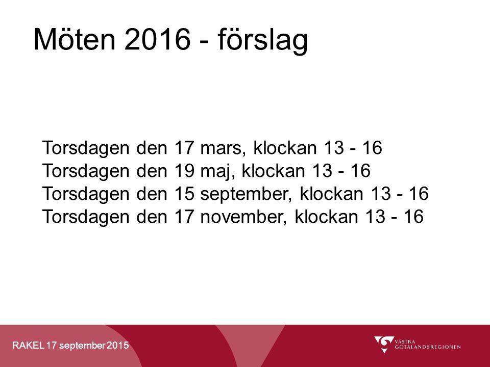 RAKEL 17 september 2015 Möten 2016 - förslag Torsdagen den 17 mars, klockan 13 - 16 Torsdagen den 19 maj, klockan 13 - 16 Torsdagen den 15 september, klockan 13 - 16 Torsdagen den 17 november, klockan 13 - 16