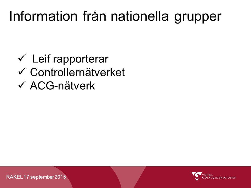 RAKEL 17 september 2015 Information från nationella grupper Leif rapporterar Controllernätverket ACG-nätverk