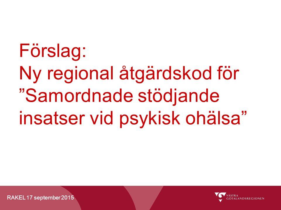"""RAKEL 17 september 2015 Förslag: Ny regional åtgärdskod för """"Samordnade stödjande insatser vid psykisk ohälsa"""""""