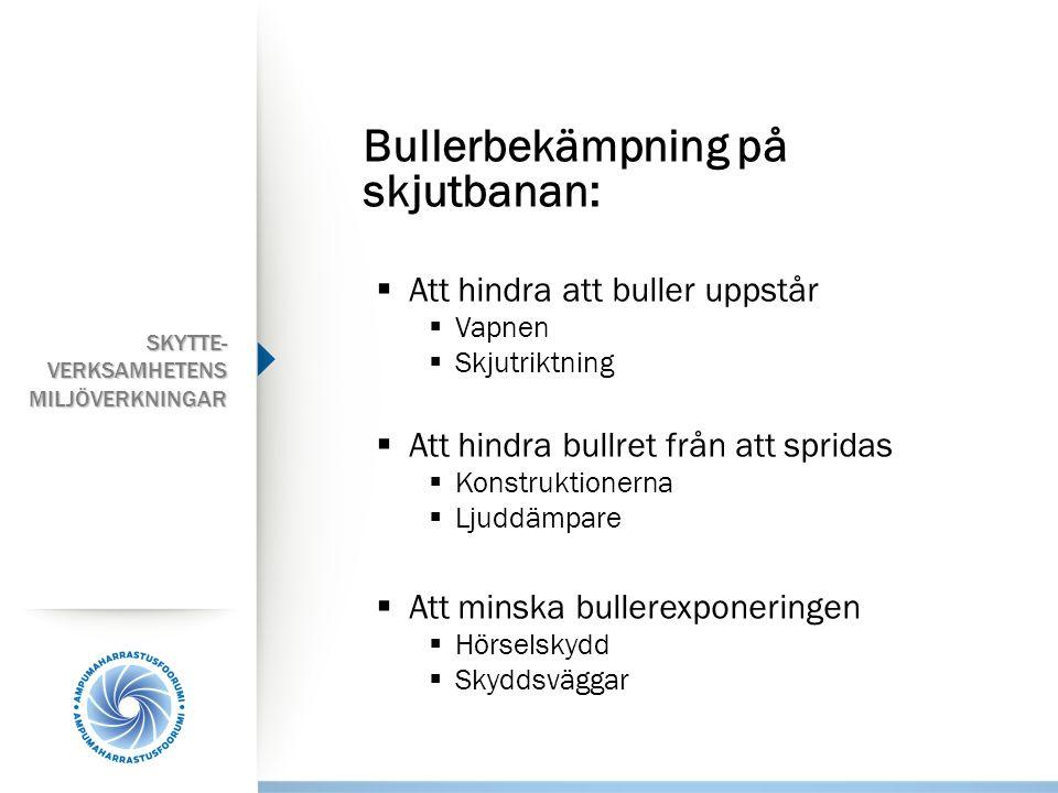 Bullerbekämpning på skjutbanan:  Att hindra att buller uppstår  Vapnen  Skjutriktning  Att hindra bullret från att spridas  Konstruktionerna  Lj
