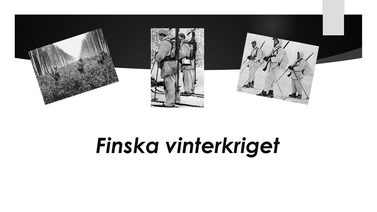 Finska vinterkrigets bakgrund Den 23 augusti 1939, undertecknades en icke-angreppspakt mellan Tyskland och Sovjetunionen.