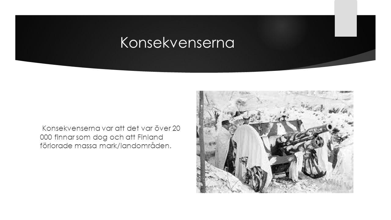 Konsekvenserna Konsekvenserna var att det var över 20 000 finnar som dog och att Finland förlorade massa mark/landområden.