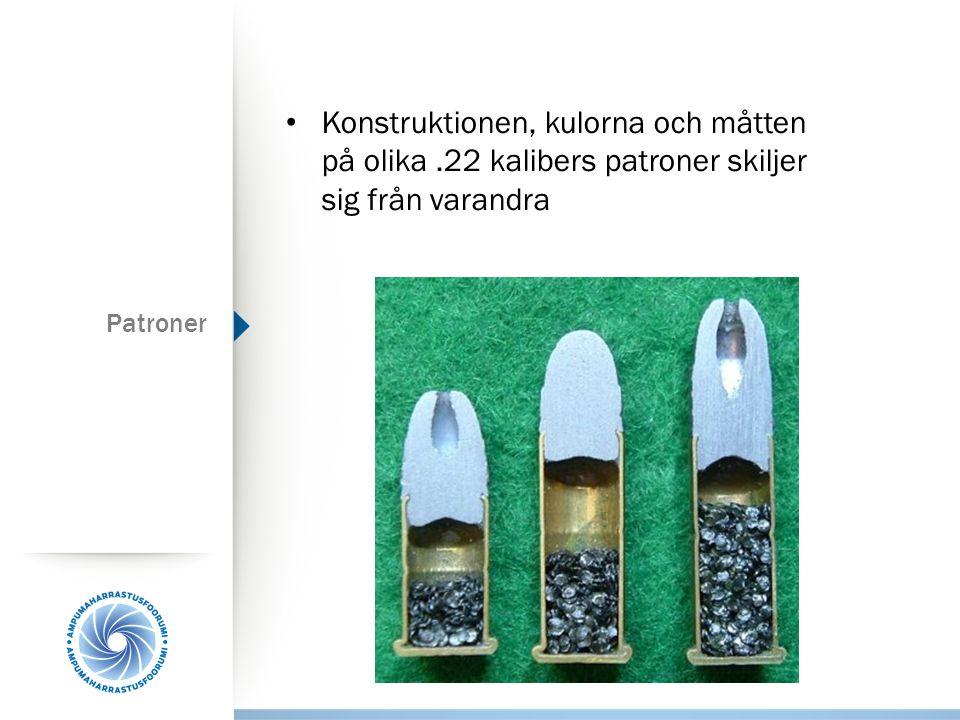 Patroner Konstruktionen, kulorna och måtten på olika.22 kalibers patroner skiljer sig från varandra