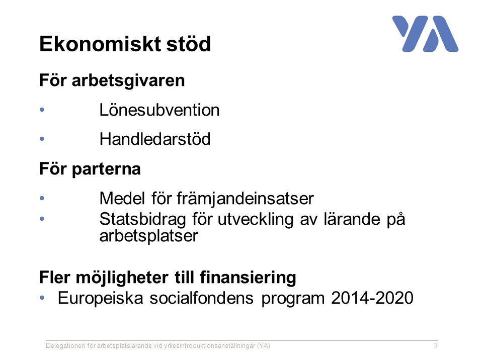 Ekonomiskt stöd För arbetsgivaren Lönesubvention Handledarstöd För parterna Medel för främjandeinsatser Statsbidrag för utveckling av lärande på arbetsplatser Fler möjligheter till finansiering Europeiska socialfondens program 2014-2020 Delegationen för arbetsplatslärande vid yrkesintroduktionsanställningar (YA)3