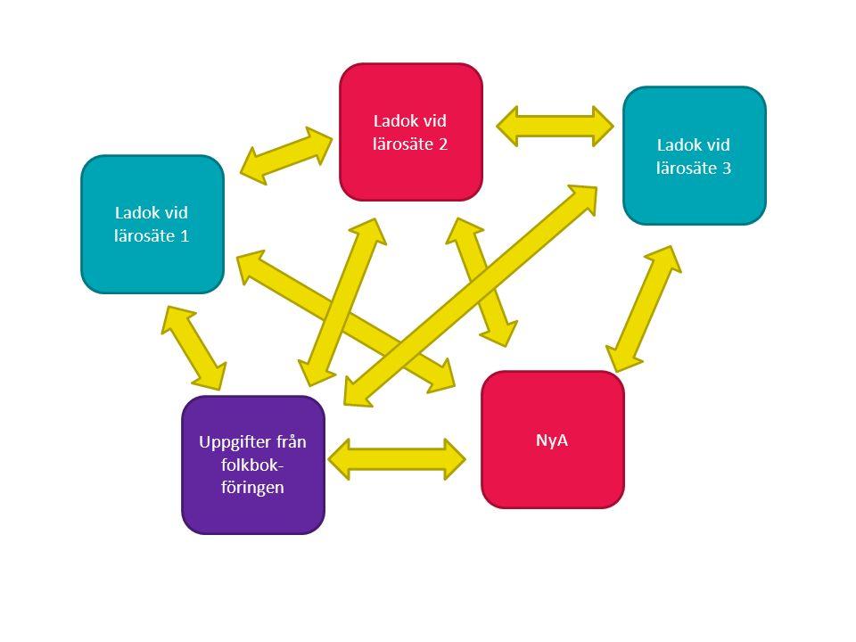 Sv Ladok vid lärosäte 1 Ladok vid lärosäte 2 Ladok vid lärosäte 3 Uppgifter från folkbok- föringen NyA